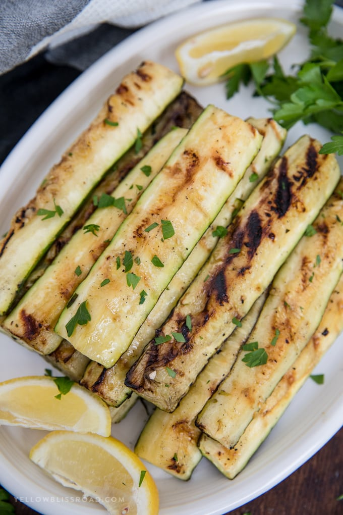 grilled zucchini strips on a plate