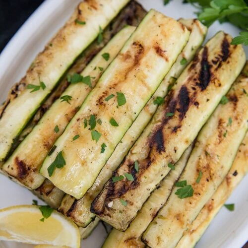 A plate of grilled zucchini slices