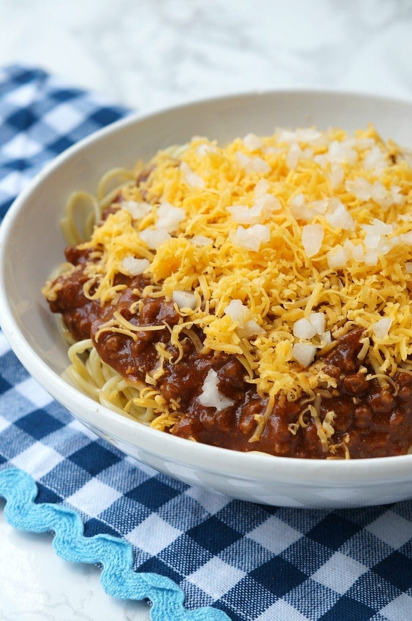 instant pot skyline chili in a serving bowl