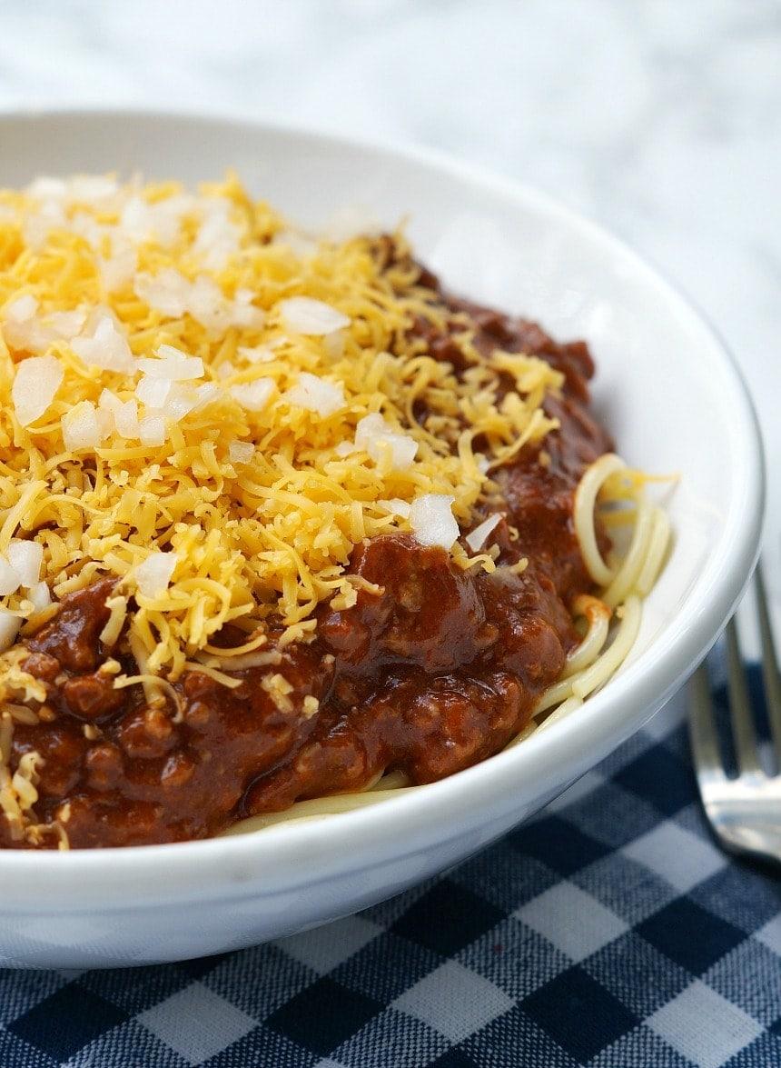 instant pot skyline chili served over spaghetti