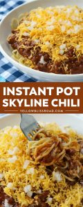 Instant Pot Skyline Chili is an extra fast version of the classic Cincinnati Chili served over spaghetti and topped with tons of cheese & onions!