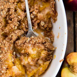 A dish of peach crisp