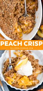 fresh peach crisp collage