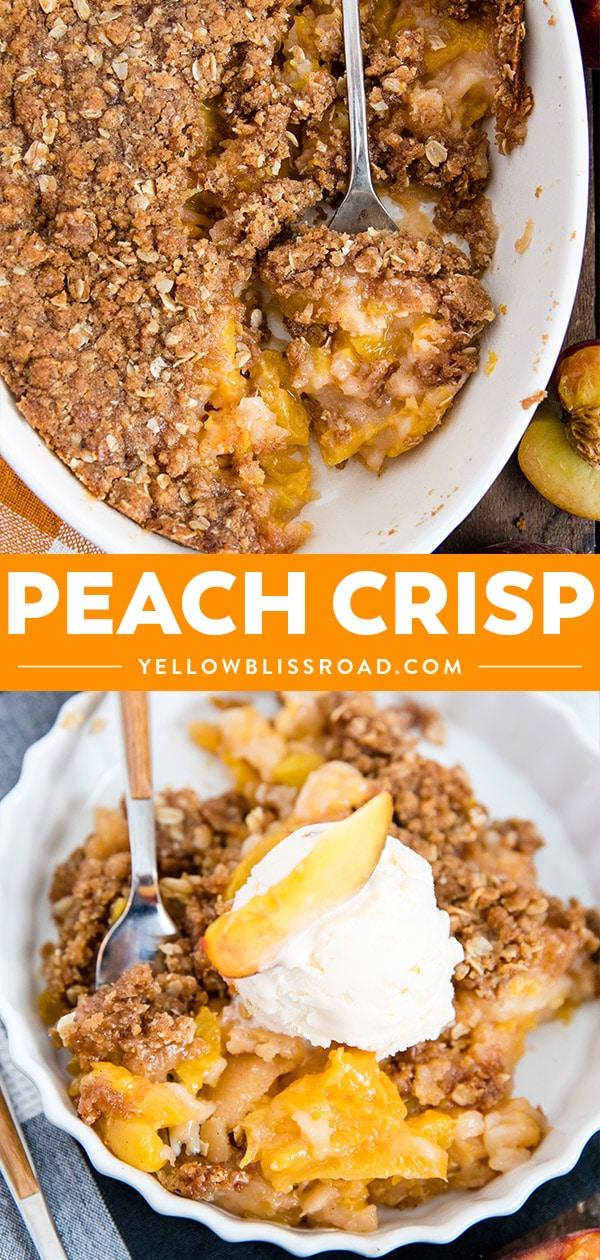 fresh peach crisp collage