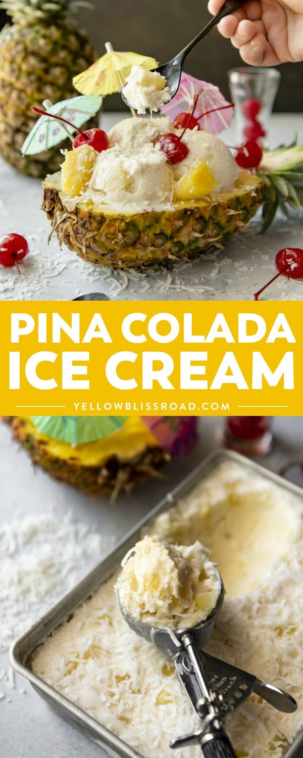 Cool, refreshing, and dairy free, this no-churn Pina Colada Ice Cream is a cocktail favorite turned frozen treat that's made with only FOUR ingredients!