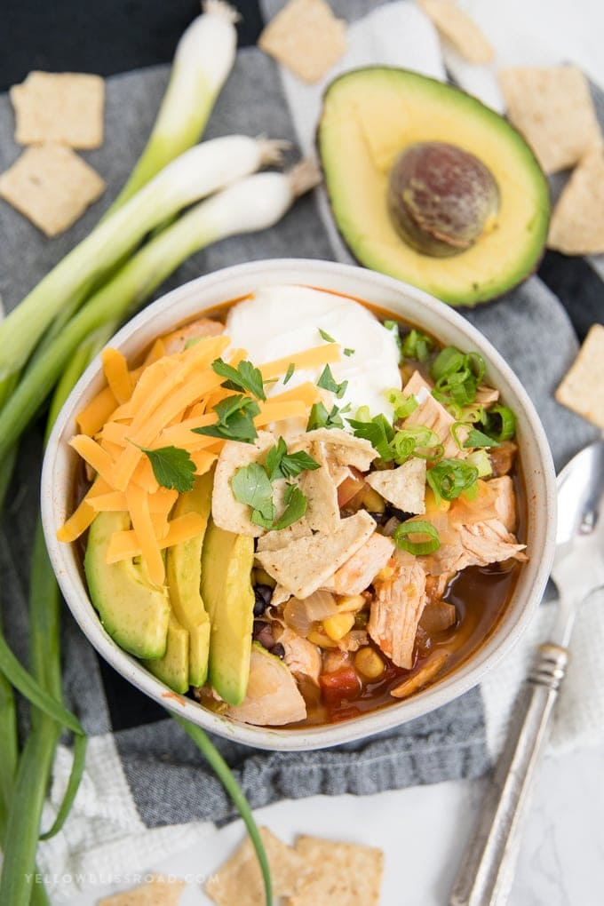 Chicken Tortilla Soup with avocado and cheese