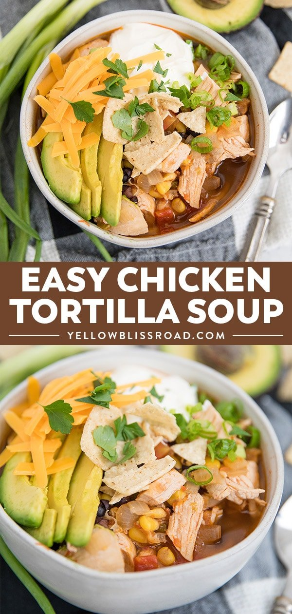 Chicken Tortilla Soup in a bowl topped with avocado, cilantro, cheese and sour cream