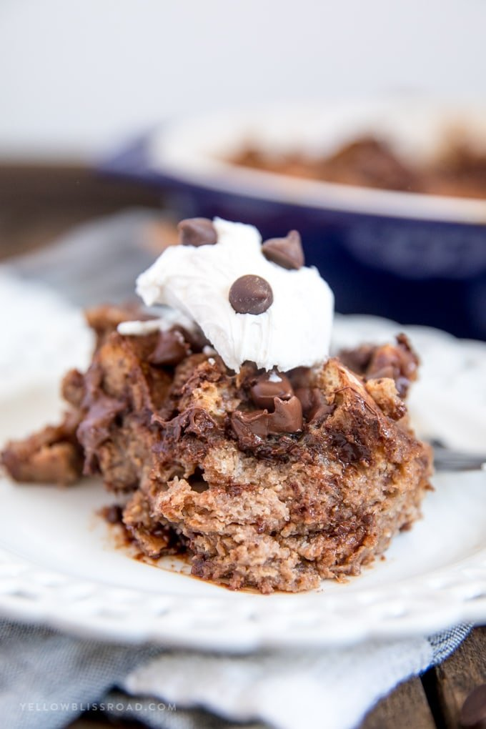 a serving of chocolate bread pudding on a plate.