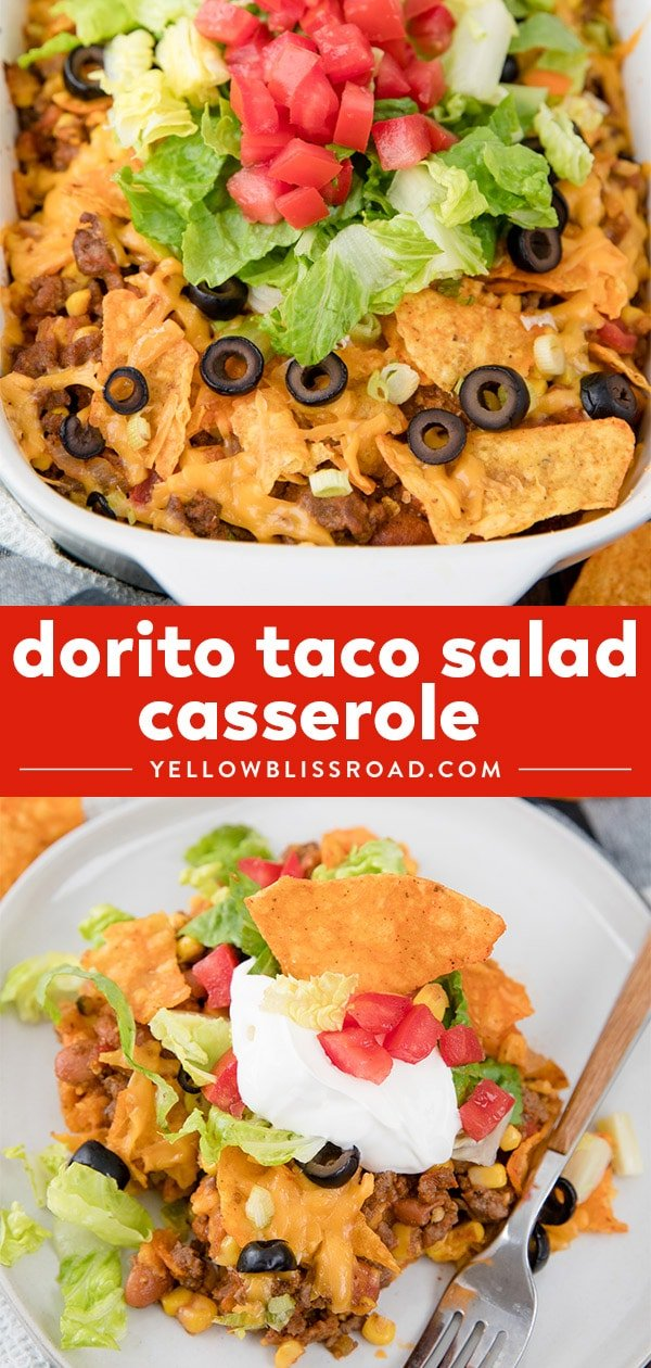 Dorito Taco Salad Casserole collage with two images and text