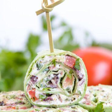 A close up of Greek Salad Pinwheel