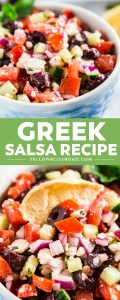 Greek Salsa is a fun twist on everyone's favorite snack! It's light, fresh, and super addictive, but also totally easy to make!