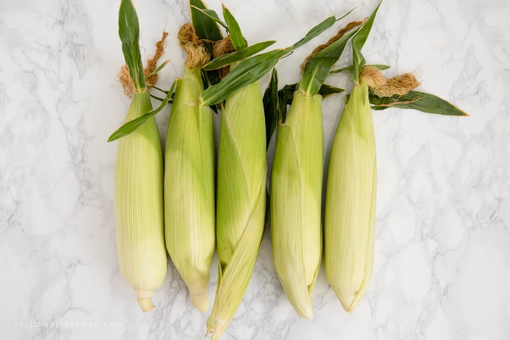 5 ears of corn on a marble surface