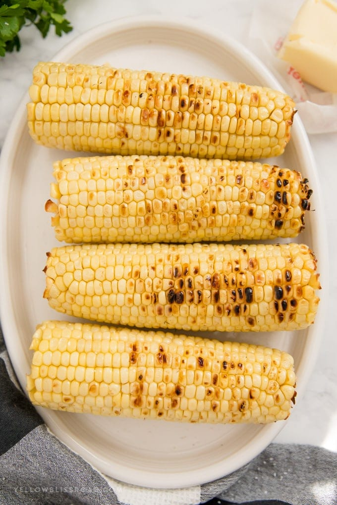 a white platter with 4 grilled ears of corn on the cob