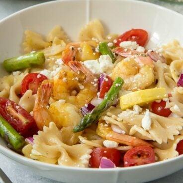 A bowl of Shrimp Pasta Salad