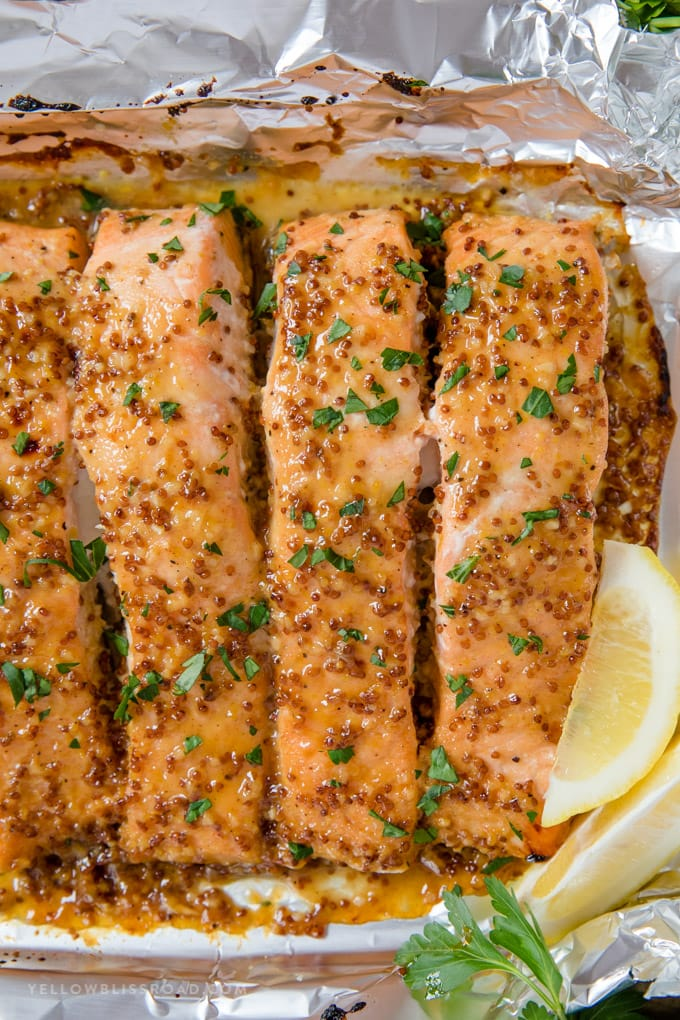 salmon filets with honey mustard glaze