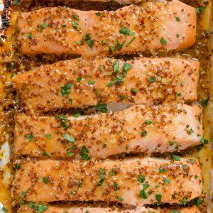 A close up of Honey Mustard salmon
