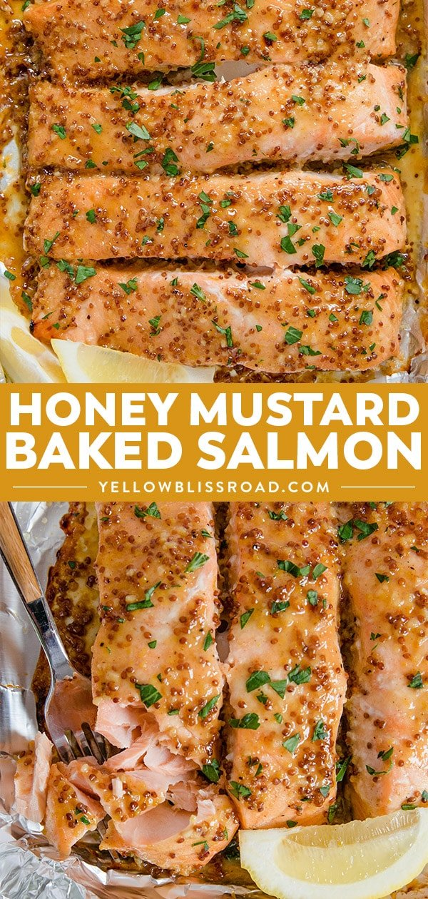 honey mustard baked salmon collage of photos