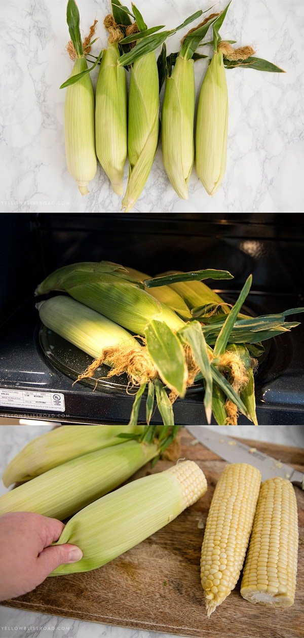 a collage of 3 images showing corn on the cob in the husk being microwaved and then the husks removed easily