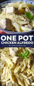 One Pot Chicken Alfredo is a quick and easy meal made in just one pot! Pasta, chicken, and a creamy alfredo sauce come together for a fantastic dinner that's ready in just 30 minutes!