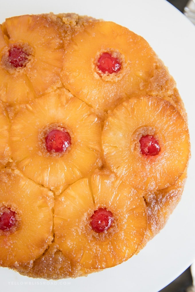 Pineapple Upside Down Cake with brown sugar and cherries