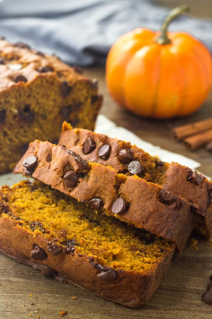 Moist pumpkin bread with chocolate chips is the perfect chocolate & pumpkin treat for fall.
