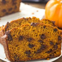 This pumpkin bread with chocolate chips is moist, tender and filled with warm spices.