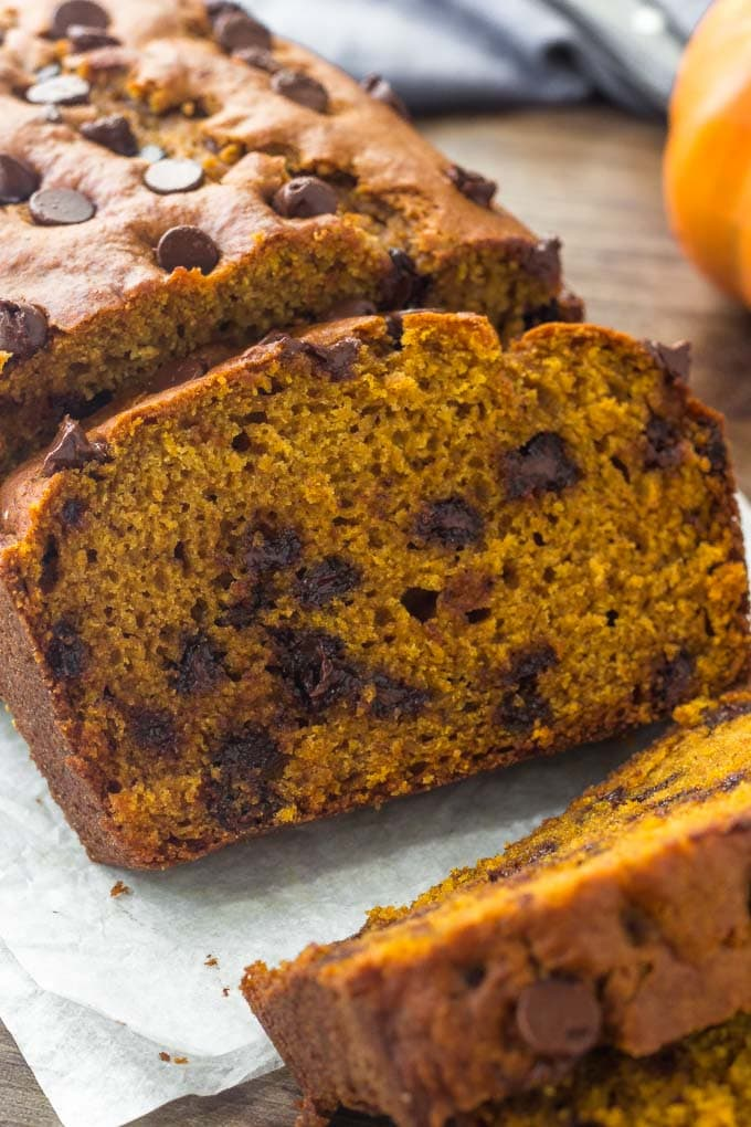 Pumpkin bread with chocolate chips is moist, packed with flavor & impossible to resist. Perfect for pumpkin season.