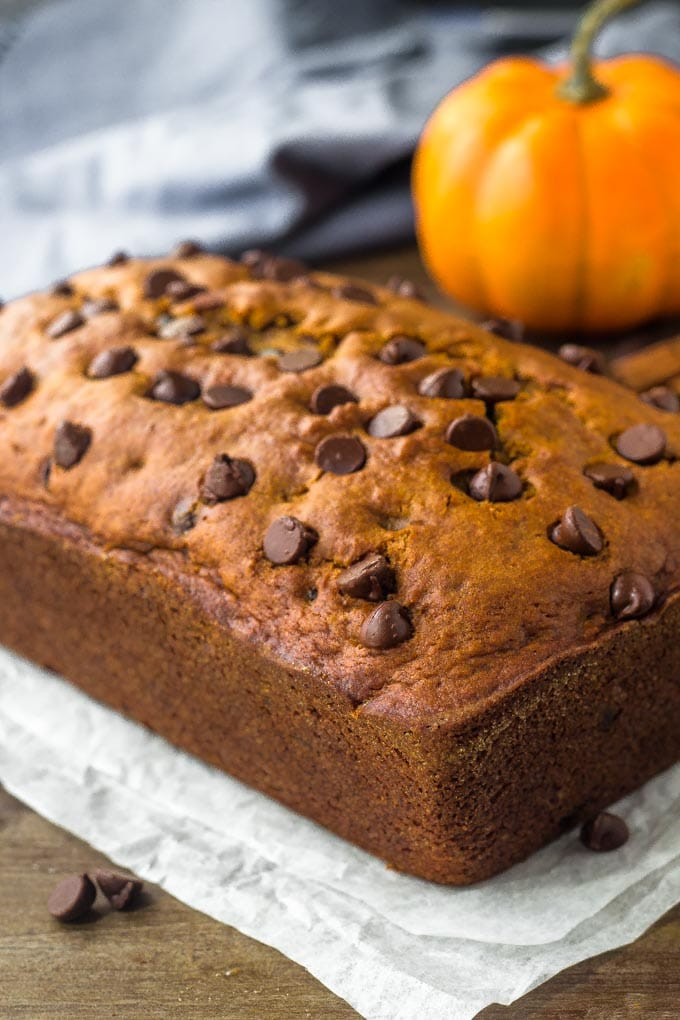 Moist pumpkin chocolate chip bread filled with pumpkin spice