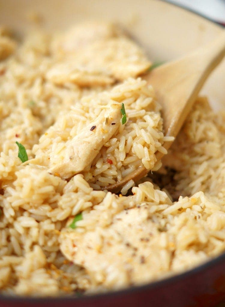 spoonful of Skillet Garlic Chicken and Rice Casserole