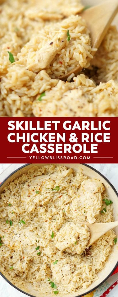 Skillet Garlic Chicken and Rice Casserole is an easy go-to chicken dinner that is flavorful, easy, and only uses one pan! My family loves this easy chicken dinner recipe and I love how easy it is to prepare!