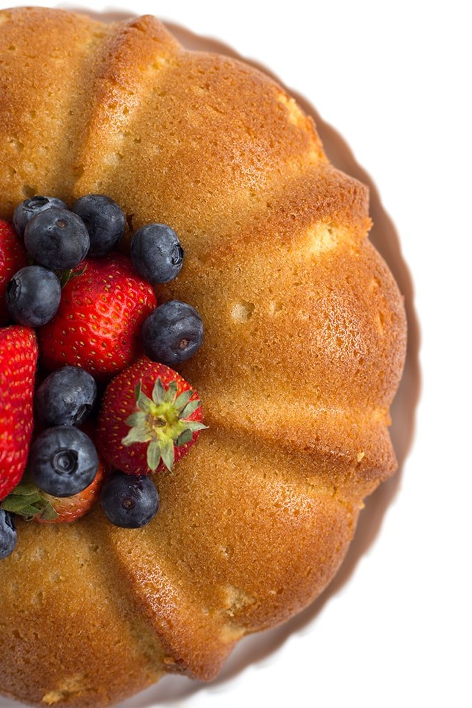 looking down at a pound cake made in a bundt pan