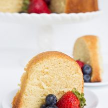 This soft, buttery pound cake is perfect by itself or topped with fresh fruit. It bakes up great in a bundt pan or loaf pan too!