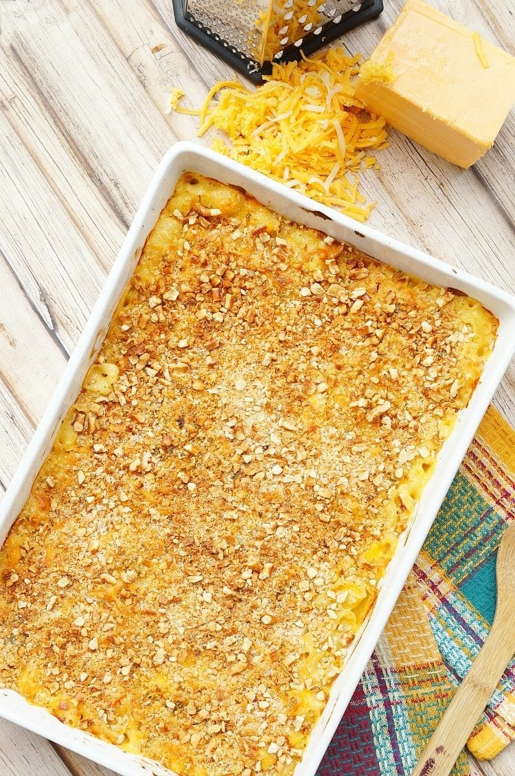 baked macaroni and cheese in a casserole dish after cooking