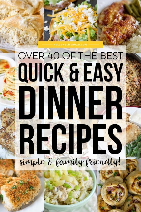 collage of images for easy dinners with title text optimized for pinterest