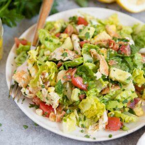 A close up of Bacon Avocado Chicken salad