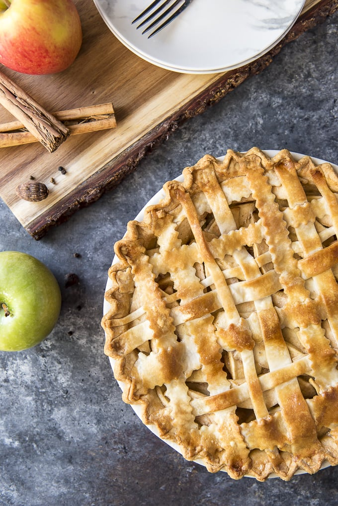 Classic Apple Pie with a lattice pie crust after baking