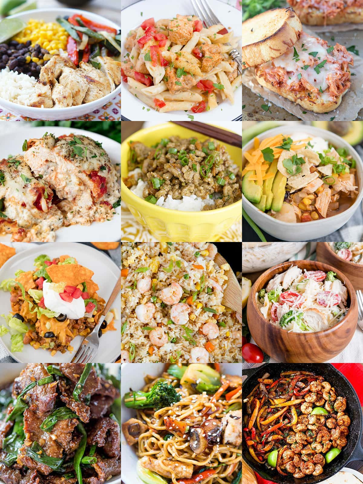 collage of easy dinner ideas