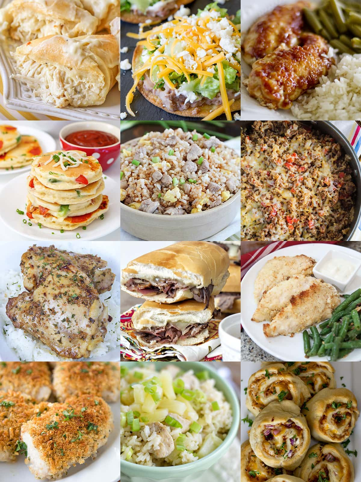 Collage of 12 easy dinner recipes.
