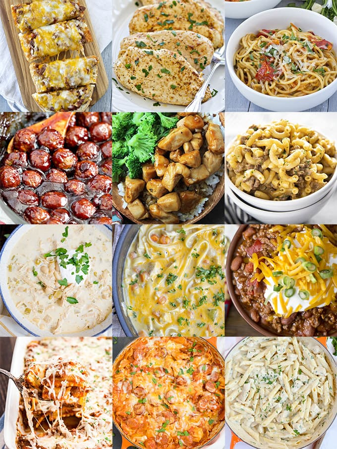 Collage With 12 Images Of Easy Dinner Ideas
