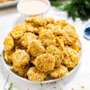 A plate of fried pickles