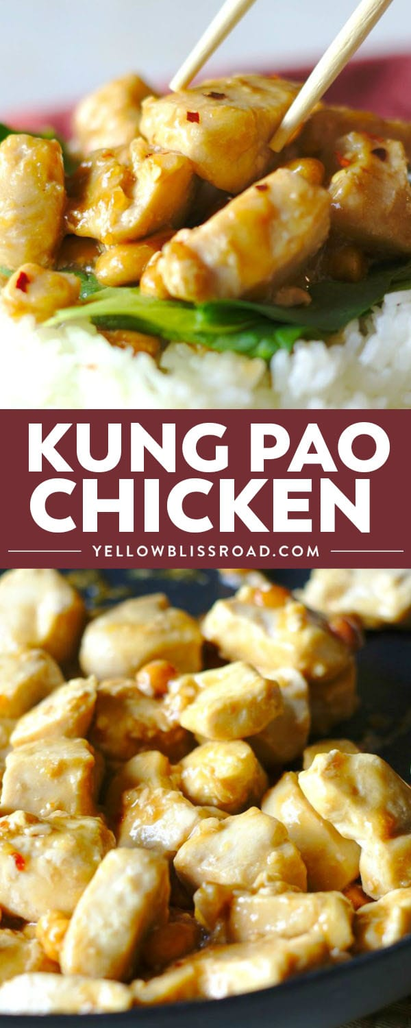Kung Pao Chicken is a quick and easy takeout meal made right at home! Spicy kung pao sauce over chicken and peanuts is great served over rice!