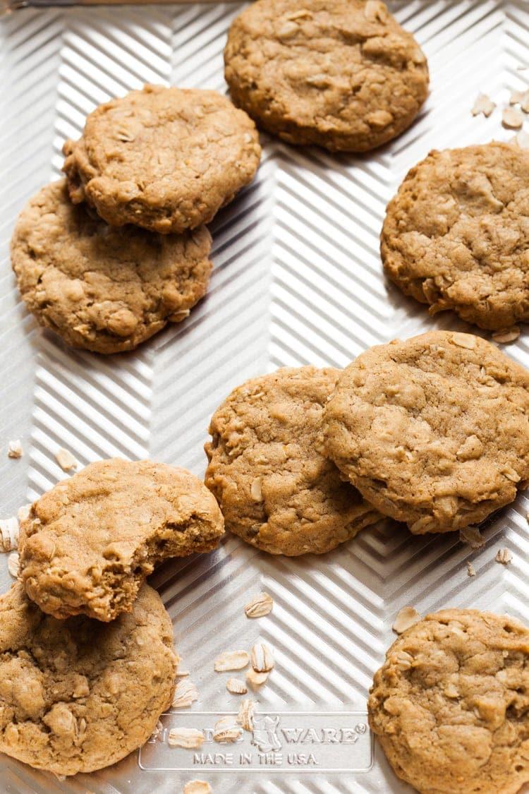 oatmeal pumpkin cookies on a cookie sheet after baking