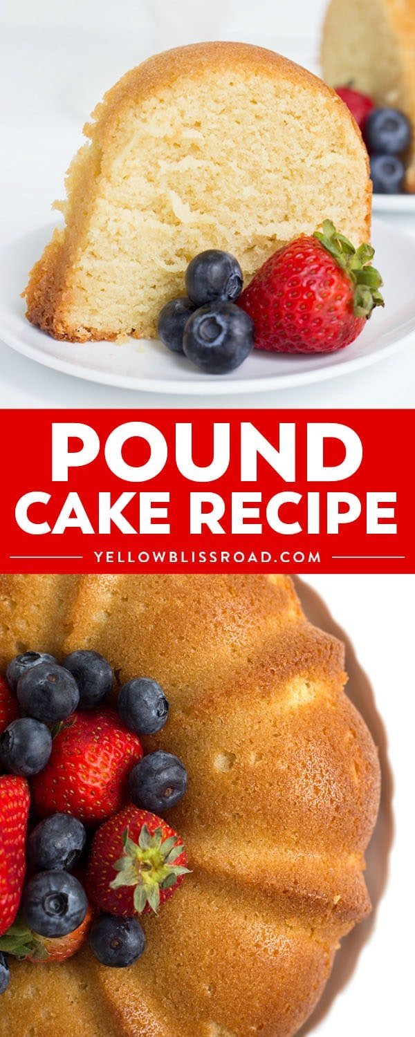 pound cake collage of two images for pinterest
