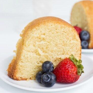 A piece of pound cake on a plate