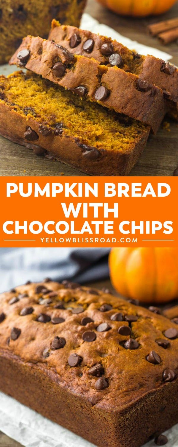 This pumpkin bread with chocolate chips is moist, tender and filled with warm spices. Perfect for fall & impossible to resist!