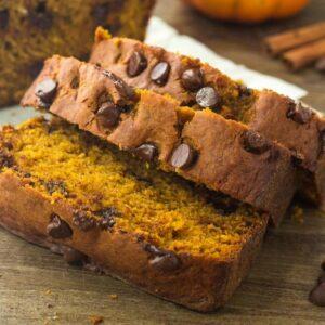 Social media image of pumpkin chocolate chip bread