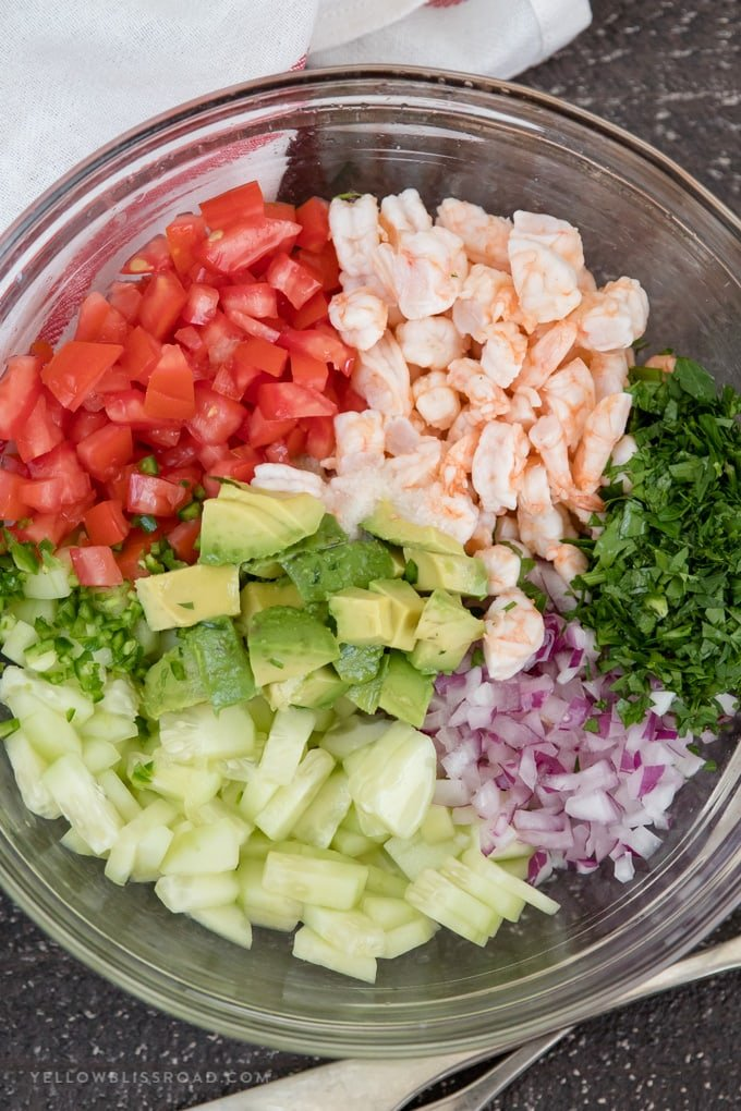 Ingredients to make shrimp ceviche.
