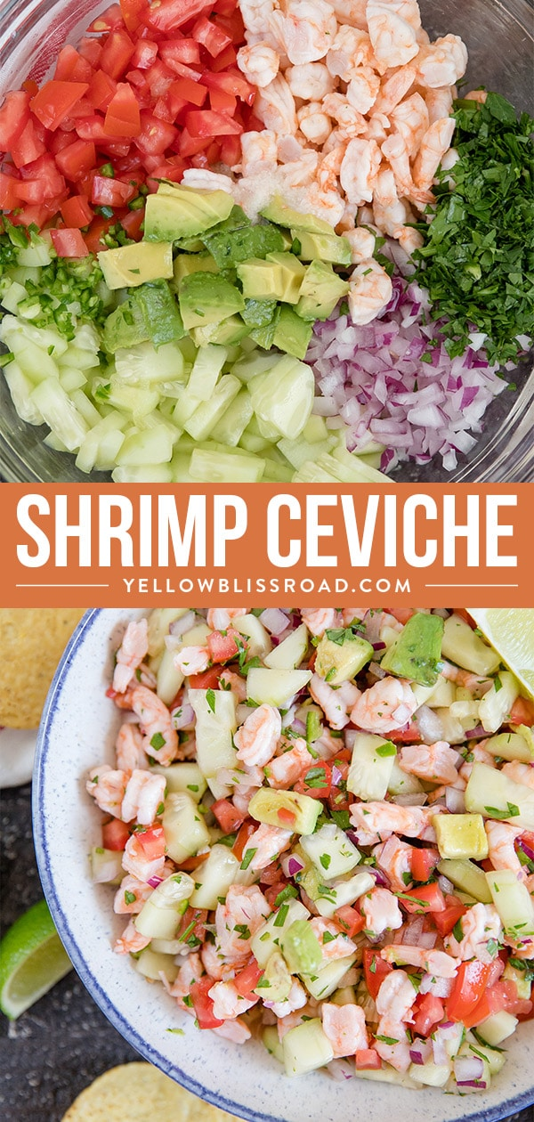 shrimp ceviche ingredients in two collage images