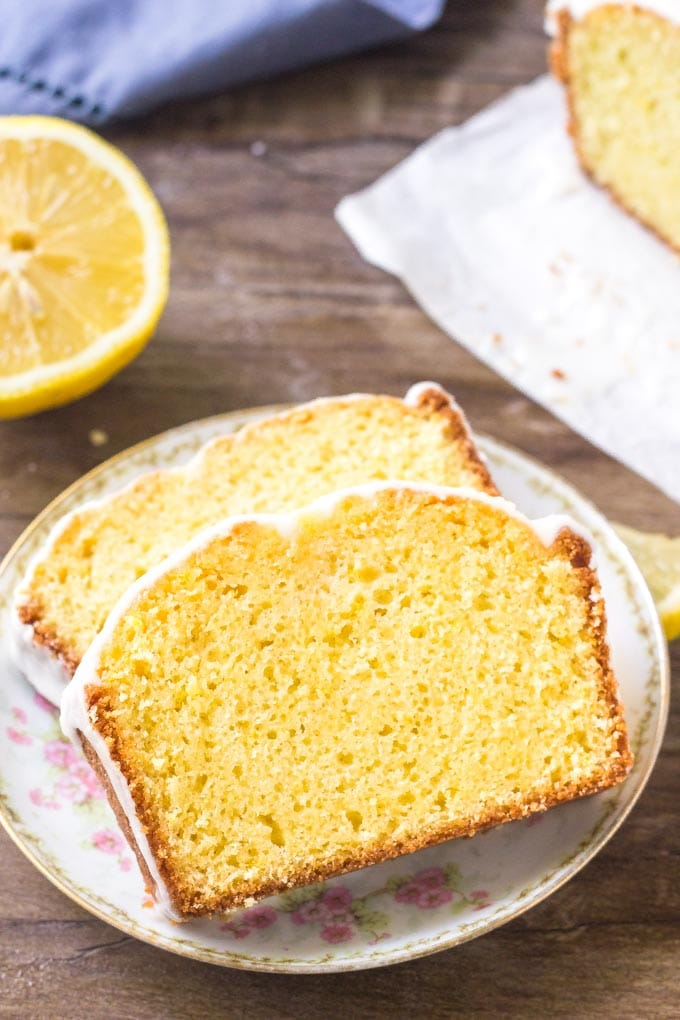 Slices of Starbucks copycat lemon loaf on a plate.