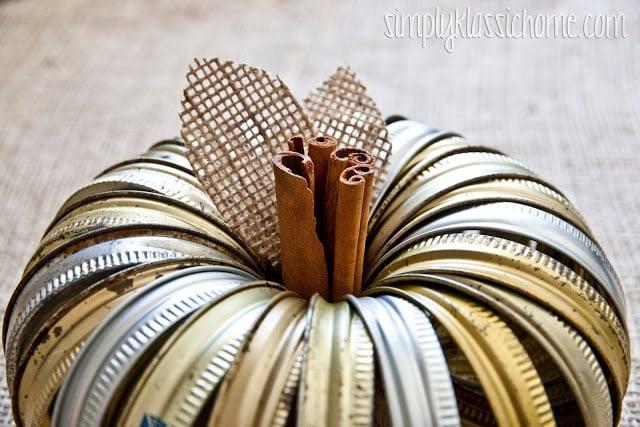 Pumpkin made of canning jar rings